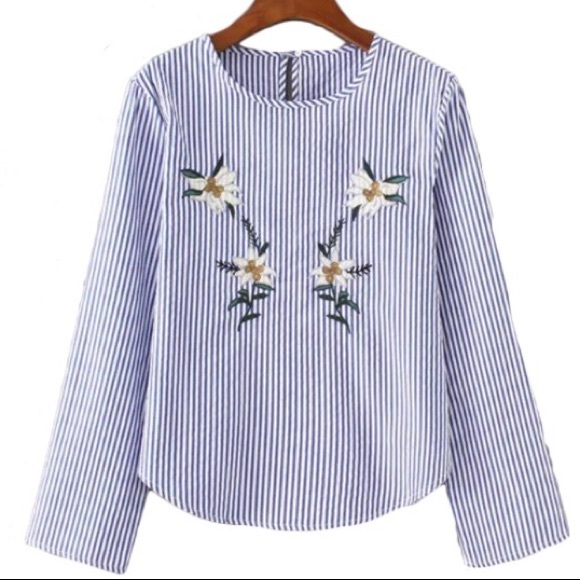 179de3bf Zara Tops | Floral Embroidered Stripe Blouse | Poshmark